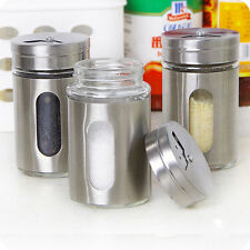 Stainless Steel+Glass Spice Jars Condiment Pot Salt Pepper Kitchen Storage