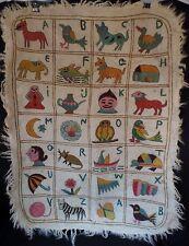 "Antique Handmade Numdah Wool Blanket of Alphabet 3' X 2"""