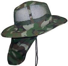 Summer Wide Brim Mesh Safari/Outback Hat W/Neck Flap #982 Camo L