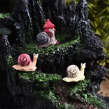 3x Garden Ornament Miniature Snail Figurine Resin Craft Fairy Dollhouse Decor