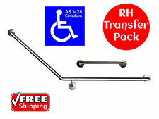 40 DEGREE SAFETY RAIL RIGHT HAND TRANSFER AS1428 GRAB BAR DISABLED TOILET 450mm