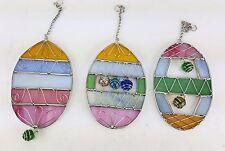 LILLIAN VERNON DESIGNS 3 PACK EASTER EGG SUN CATCHER WALL HANGER STAINED GLASS