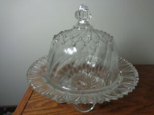 Vintage EAPG Greentown Glass Cord Drapery Butter Dish Indiana Tumbler & Goblet
