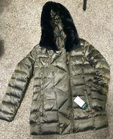 RALPH LAUREN WOMEN'S SZ M PUFFER DOWN COAT BRONZE FAUX FUR MSRP $310+