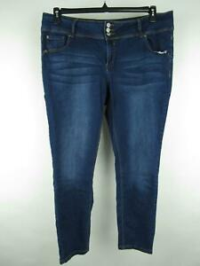 Almost Famous Women 22 Blue Cotton Blend Dark Wash Pockets Stretch Skinny Jeans