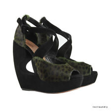 Alaia Black Forest Green Panther Pattern Pelt Wedges Shoes IT36.5 UK3.5