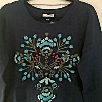 Sonoma Womens Sweater Medium  Blue Floral Embroidery Long Sleeve New