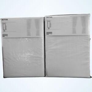 "IKEA RITVA Curtains With Tie Backs 57""X98"" 4 Panels White Drapes Sunblock 2 Pair"