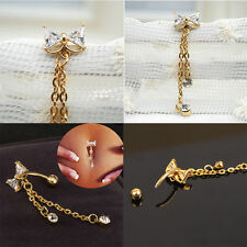 Newly Reverse Belly Ring Dangle Clear Navel Bar Gold  Body  Piercing Jewerlys