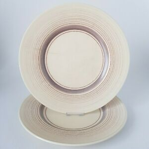 """Two Susie Cooper 10"""" Dinner Plates Purple/Grey/Brown Concentric Bands Stripes"""