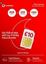Vodafone Trio Sim Card With £10 BVB,6GB Data Preloaded Unlmtd Txts + 250 Minutes