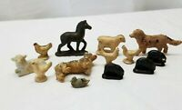 Vintage Miniature Composite Rubber Farm Animals Toy Lot Dog Pig Horse Chicken