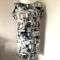 Warehouse Shift Tunic Mini Dress Size 12 Grey Multi Squares Print Short Sleeved