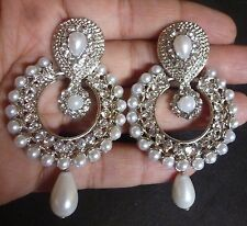 Sale ......   Indian Antique Silver plated Vintage Pearl Drop CZ Bridal Earrings