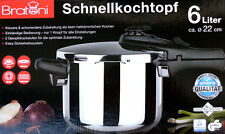 Bratoni Schnellkochtopf 6 Liter 2 Dampfdruckstufen auch für Induktion geeignet