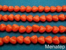 50 6x6mm Czech Glass Heart Beads: Opaque Orange