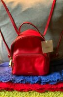 Fossil Maisie Brick Red Leather Mini Zip Shoulder Bag Handbag Backpack Style