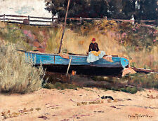 Boat on Beach Queenscliff A1 by Tom Roberts High Quality Canvas Print