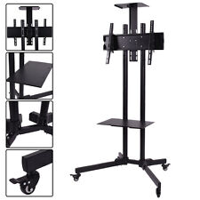 """TV Cart Stand Plasma LCD LED Flat Screen Panel w/ Wheels Mobile Fits 32""""to 55"""""""