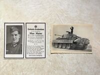 RARE WW2 KGB SEIZED PANZER PHOTO *** PANZER TANK & IRON CROSS DEATH CARD LOT