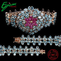 Pear Ruby Only Heated Blue Zircon Rose Gold Plate 925 Sterling Silver Bracelet