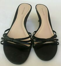 Ann Taylor Womens Heels Shoes Size 7.5 Black Strappy Sandals Slip On