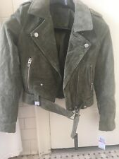 NWT Blank olive green suede moto jacket in size XS