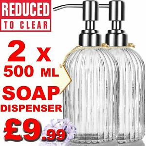 Bathroom Soap Dispenser with Premium Clear Glass Rust Proof Stainless Steel Pump