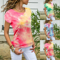 Womens Gradient Short Sleeve Loose T Shirt Ladies Summer Casual Tee Tops Blouse