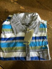 Sonneti Striped Jersey Polo Shirt/Ice Blue - Extra Large