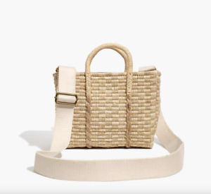New MADEWELL The Mini Straw Tote Bag in Vintage Parchment