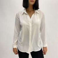 Women's V Neck Long Sleeve White Sheer Button Up Shirt Career Blouse Size L