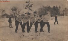 RPPC Postcard Men Ice Skating on Pond
