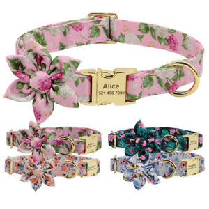 Soft Nylon Floral Dog Personalised Collar Metal Buckle Pet ID Name Tags Engraved