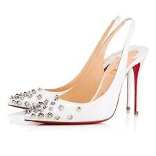 Christian Louboutin Drama Sling 100 White Patent Spike Sandal Heel Pump 37.5