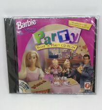 New Barbie Party Print 'n Play CD-ROM PC Game by Mattel for Windows 95/98
