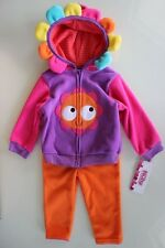 NUBY 3 Piece Set Girl Pants Flower Hooded Jacket Pink Purple Orange 18 Mo