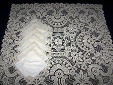 ANTIQUE STUNNING UNUSED HANDMADE POINT DE VENICE LACE TABLECLOTH & 6 NAPKINS