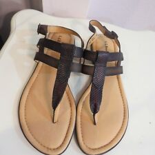 NWOB L.L. BEAN Leather Brown slingback buckle Sandals womens size 10M (B)