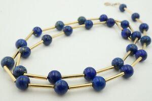 "Vintage 14k White Gold 6mm Lapis Lazuli Strand Bead Necklace 18"""