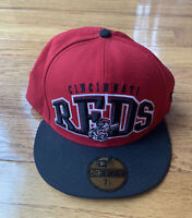 CINCINNATI REDS New Era 59Fifty MLB Baseball Cap Hat Size 7 1/4. All Stickers.