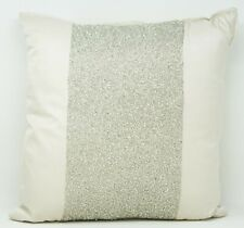 """Hotel Collection Finest Luster 16"""" Cotton Silk Beaded Decorative Pillow - Ivory"""