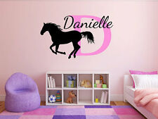"Horse Name Monogram Girl Bedroom Vinyl Wall Decal Graphics Bedroom Home 18"" Tall"