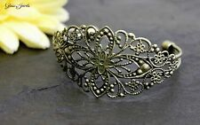 Glass Jewels Bronze Armband Armreif Vintage Boho Gothic Länge 16 cm#O009