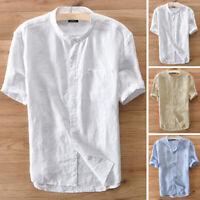 Mens Short Sleeve Linen Shirt Smart Beach Cool T Shirt Party Formal Tops Blouse