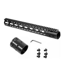 Black 15'' inch M-LOK Free Float Handguard Rail Mount System Hand Guard w/ Nut