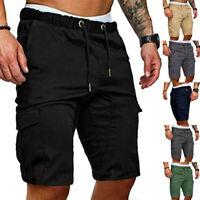 Men 3/4 Knee Length Jogger Shorts Pants Sport Trousers Cropped Sweatpants Casual