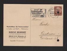 BERLIN, Postkarte 1939, Rudolf Behrendt Polstermöbel-Werkstätten