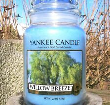 "Yankee Candle Retired ""WILLOW BREEZE"" ~ Blue ~ Large ~ 22 oz.~ WHITE LABEL~ NEW"