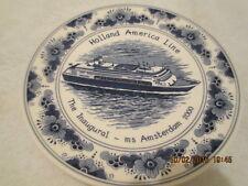 """RARE Delft 10"""" Plate Commemorating Inaugural Ms Amsterdam Holland America 2000"""
